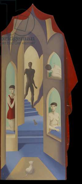 Figure and Staircase, 1920-29 (oil on panel)
