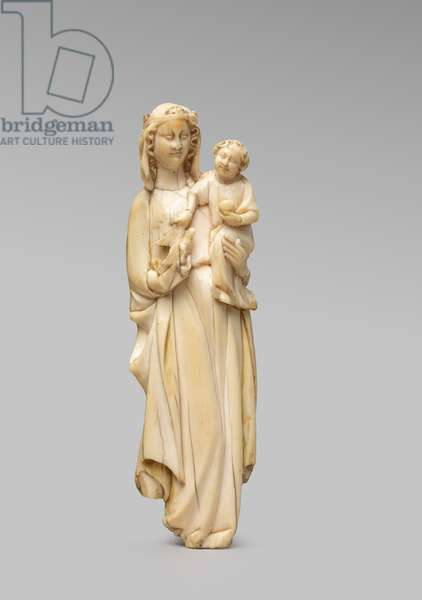 Standing Virgin and Child statuette (front), early 14th century (carved ivory with traces of pigment)