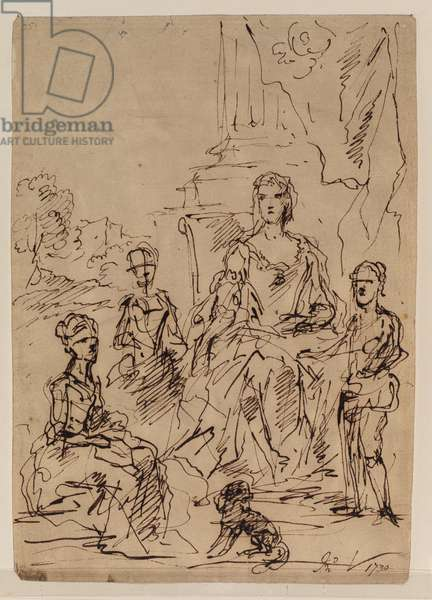 Sketch for a family portrait group (recto), 1730 (pen & brown ink over traces of graphite, on laid paper) [see 5948374]