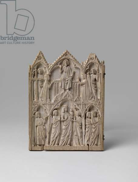 Central panel of a triptych depicting Christ in Judgement above the Vierge Glorieuse, 13th century (carved ivory with traces of pigment and metal (remains of hinges on the right))