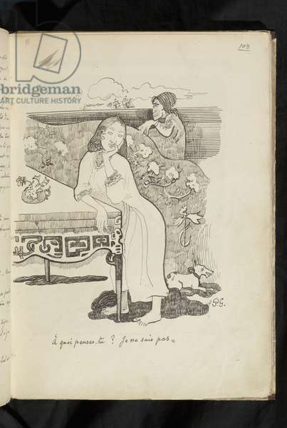 """Avant et après - drawing """"À quoi-penses-tu? Je ne sais pas"""", 1903 (graphite, pen and black ink on wove paper)"""