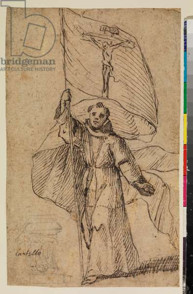 Franciscan monk holding a banner with the Crucifix, 17th century (black chalk, pen & dark brown ink, an area of the flag filled in later in light brown ink, on laid paper)
