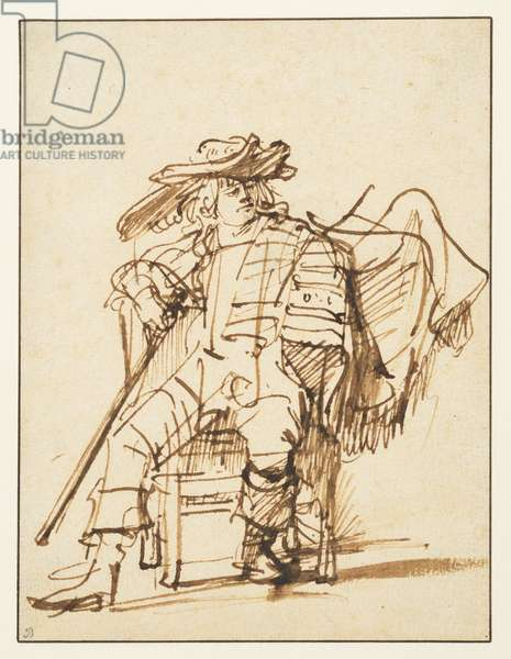 Study of a seated actor in a plumed hat: Capitano from the Commedia dell'Arte (recto), c.1636-38 (pen & ink and watercolour on paper)