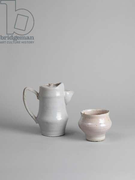 White tin-glazed coffee pot and white tin-glazed bowl, 1914-15 (tin-glazed earthenware)