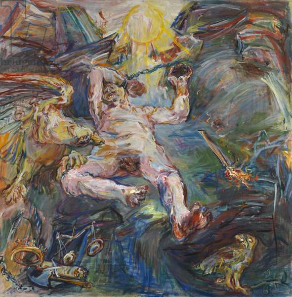 Triptych - Prometheus, 1950 (mixed media on canvas) (see also 65752-65753)