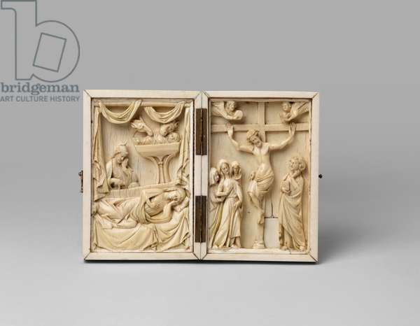 Small diptych displaying remounted Nativity and Crucifixion plaques, 13th century (carved ivory with metal hinges and fastening)