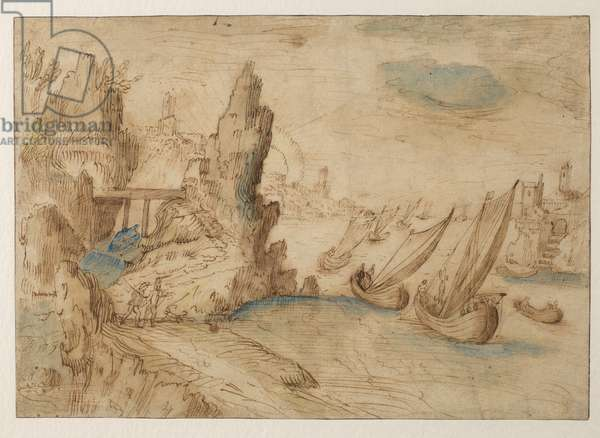 Imaginary coastal scene with fishing vessels, 1575-1633 (traces of black chalk, pen & brown ink, brown, yellow and blue wash, blue bodycolour on laid paper, with brown ink framing lines partly trimmed away, laid down on Japanese tissue)
