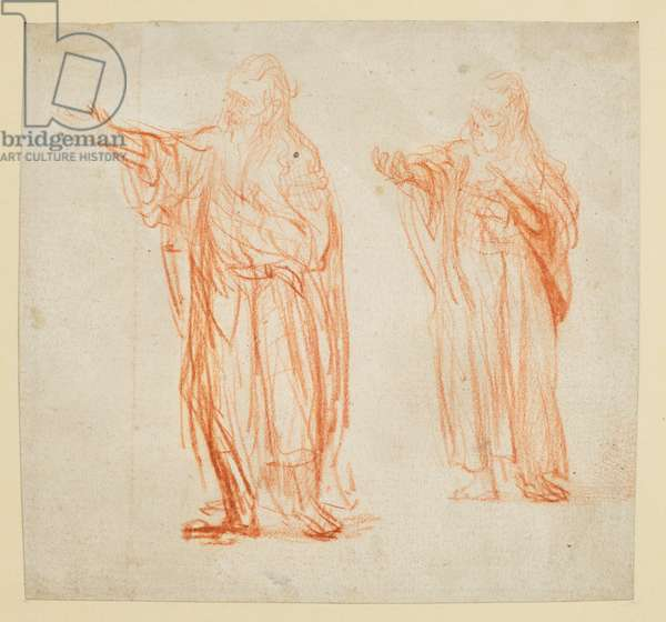 Sheet with two studies for 'Saint John the Baptist' (recto), c.1634-35 (red chalk on paper)