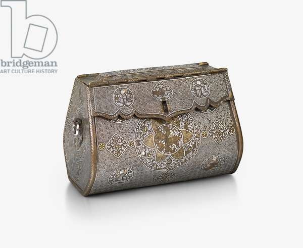 Metalwork bag, 1300-35 (silver inlay, brass, engraved and inlaid with silver and gold)