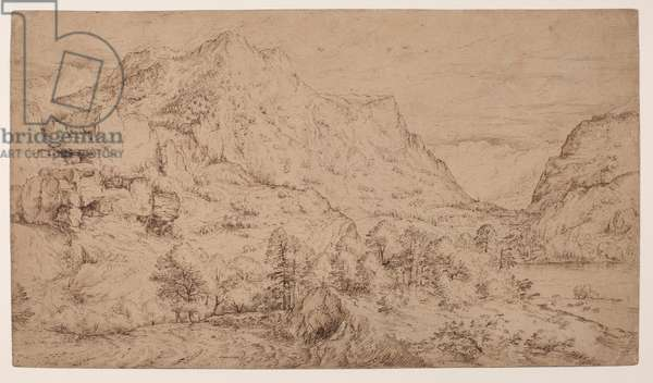 Alpine landscape, 16th century (pen & ink on brown paper)