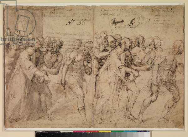 Two Studies for 'Saint Stephen Being Led to His Martyrdom' (recto), 1556 (pen and brown ink, grey wash & (later?) traces of red chalk on paper)