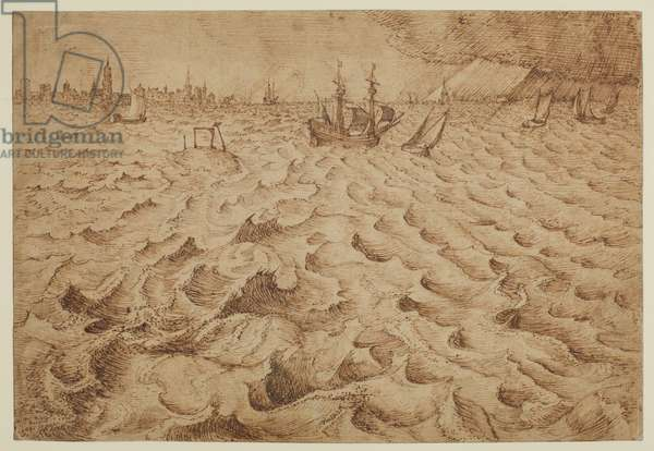 A storm on the River Schelde with a view of Antwerp, 1562-63 (pen and brown ink, reworked in areas in darker ink, & traces of pencil over ink, on laid paper)