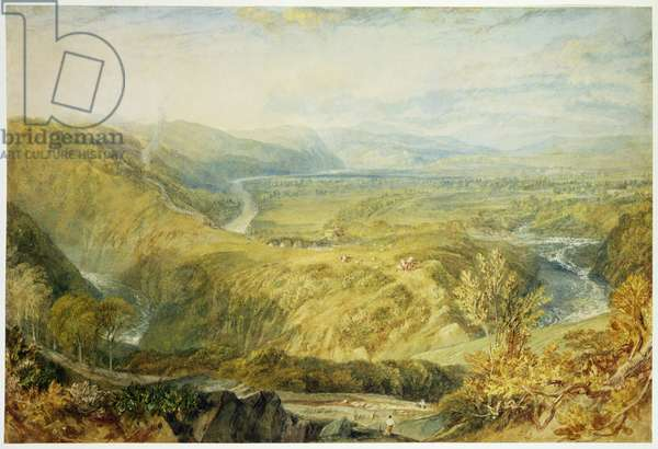 The Crook of Lune, looking towards Hornby Castle, 1816-18 (graphite, w/c, bodycolour & chalk on paper)