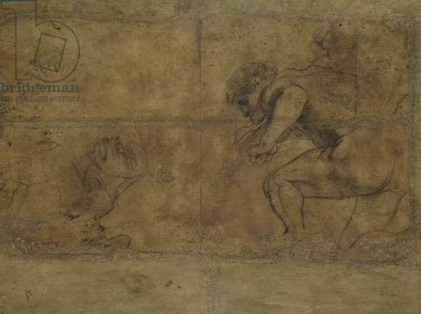 """Studies for """"The Martyrdom of Saint Sebastian"""" (verso), 1622-25 (oil on paper)"""