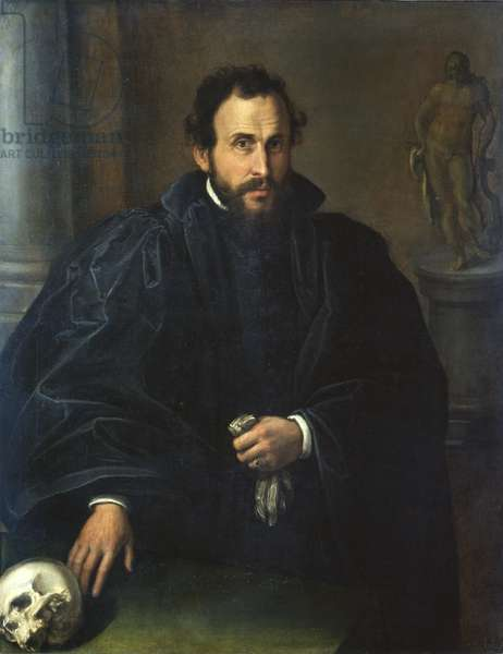 Portrait of a Man with a Skull, c.1545 (oil on canvas)