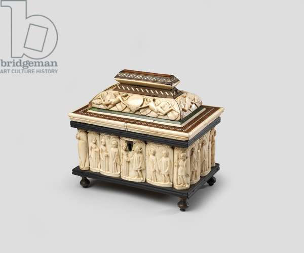 Scenes of romance on a small marriage casket, 1400-30 (ivory on wood with mother of pearl intarsia & bronze feet)