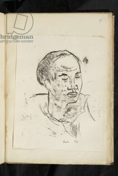 Avant et après - Head of a Marquesan woman, 1903 (traced monotype printed in black ink on wove paper, laid down on album page; no drawing on the verso)