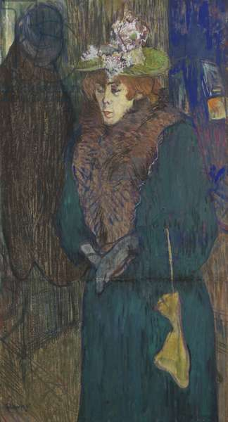 Jane Avril in the Entrance to the Moulin Rouge, c.1892 (pastel & gouache on board)