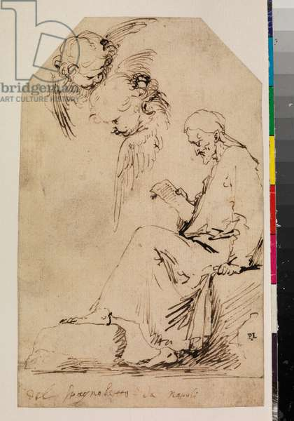 Sheet of studies with a seated man reading and two cherubim, c.1620-35 (pen & carbon-based ink on paper)