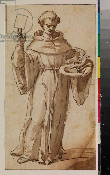 Saint Nicholas of Tolentino, 1650-99 (black chalk, pen and brown ink, brown wash on laid paper, laid down, with brown ink framing lines, the lower right corner made up)