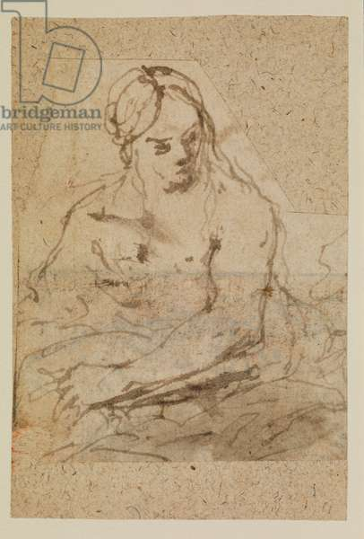 Saint Mary Magdalene (recto), 17th century (pen & brown ink, brown wash cut out along the outlines of the figure and laid down)