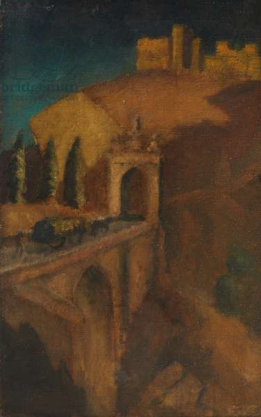 Mountain Landscape with Bridge (verso), c.1910 (oil on canvas)