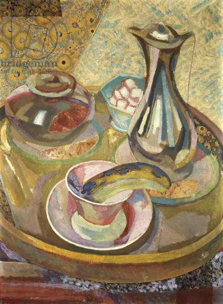 Still Life with Coffee Pot (recto), 1915 (collage, gouache, oil on cardboard)