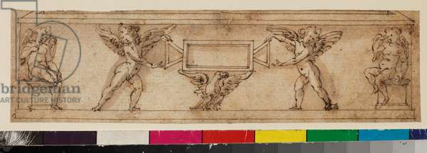 Design for a sarcophagus with cherubs flanking an empty cartouche, 1650-99 (graphite, pen & brown ink and brown wash on laid paper)