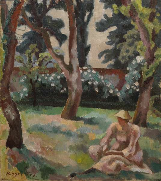 Orchard, Woman seated in a Garden, 1912-14 (oil on canvas)