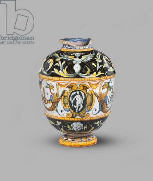 Ovoid jug (formerly called vase) with grotesque decoration and arms of Wittelsbach of Bavaria, 1550-1600 (tin-glazed earthenware (maiolica))