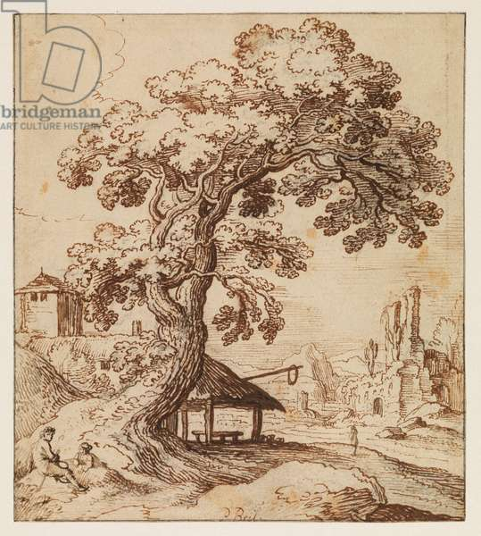 Landscape with ruins and figures, c.1615 (black chalk, pen & brown ink on laid paper, with black ink framing lines)
