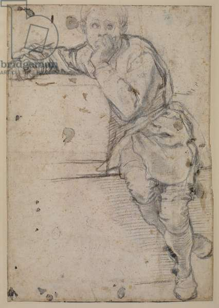 Seated youth (recto), c.1520 (black chalk on laid paper)