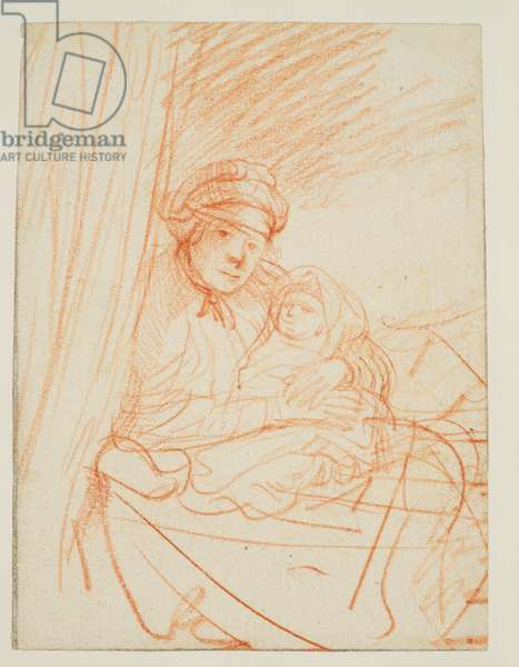 Saskia (?) sitting up in bed, holding a child, c.1635 (red chalk on laid paper)