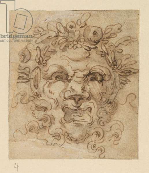 Grotesque mask, 17th century (black chalk, pen & brown ink, brown wash on laid paper, edges cut unevenly)
