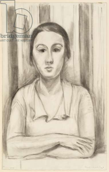 Femme accoudee sur une table (A woman leaning with elbows on a table), 1923 (chalk & stump on paper)