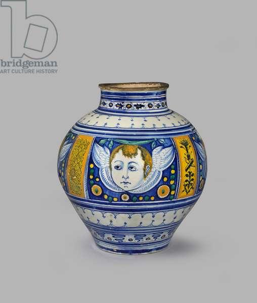 Large globular jar decorated with four heads of cherubs, c.1490-c.1500 (tin-glazed earthenware)