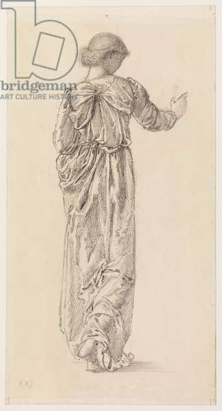 Study of a draped female figure for 'The Garland Weavers', 1866 (probably) (pencil on paper)