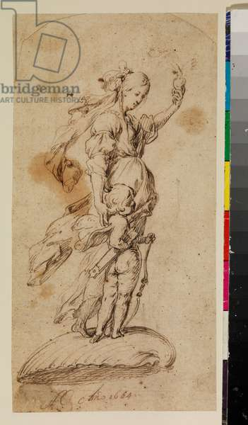 Allegory of Divine Love, 1664 (pen & brown ink on laid paper, the upper corners rounded)