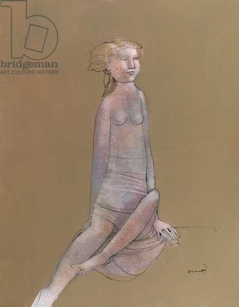 Female Nude, c.1955 (acrylic on panel)