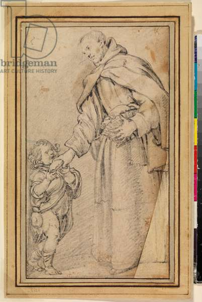 San Diego of Alcalá giving bread to a poor child, 17th century (black chalk on laid paper)