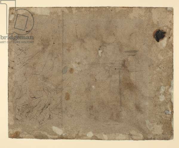 Figure studies (verso), c.1606 (pen and grey-brown ink, wash & black chalk  on grey-brown paper)