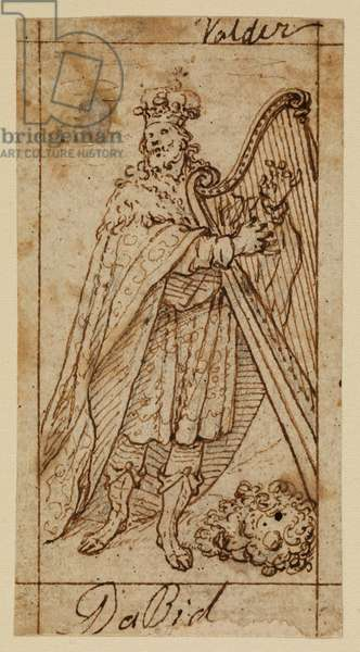 David, 17th century (black chalk, pen & brown ink on laid paper with brown ink framing lines)