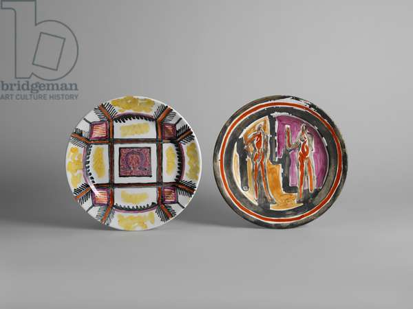 Plate with overglaze geometric design enclosing Omega symbol; Plate with overglaze painted design of two nude figures, 1913-c.1914 (glazed earthenware with painted decoration; Commercially produced white glazed plate overpainted with four colours)