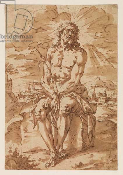 Man of Sorrows - Ecce Homo, 1585-1630 (traces of black chalk, pen & brown ink, brown wash on laid paper)