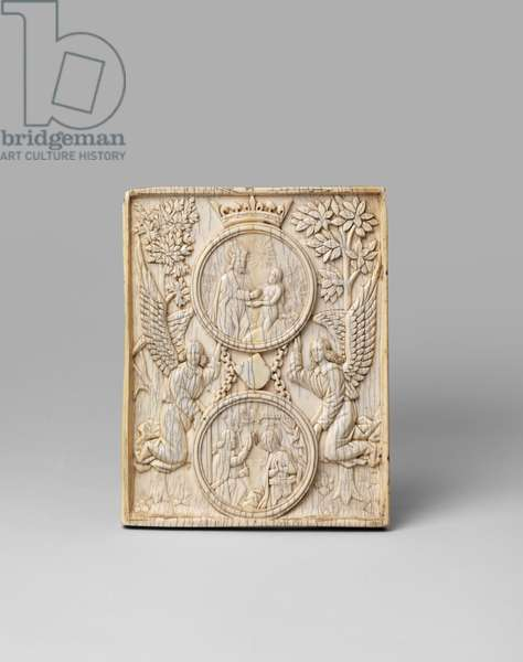 The Creation of Eve and the Annunciation on a single panel, in the Gothic style, 19th century (carved ivory)