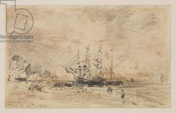 Colliers on the beach at Brighton, 14 October 1825 (graphite on wove paper, discoloured brown patches from former adhesive backing)
