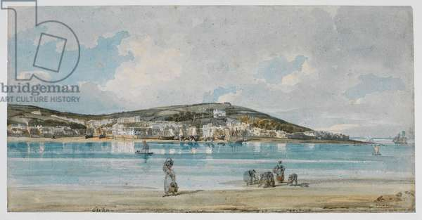View of Appledore, North Devon, from Instow Sands (formerly 'Exmouth'), c.1798 (brown ink & w/c with touches of bodycolour over pencil on coarse laid wrapping paper)