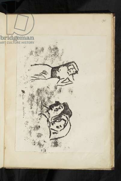 Avant et après - Woman carrying an urn on her shoulder and two heads from L'Appel, 1903 (traced monotype printed in black ink on wove paper, laid down on album page; has horizontal orientation and so lower edge is toward the gutter; unable to lift to see verso)