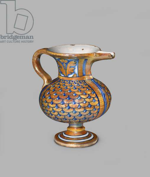 Lustred ewer with scale and leaf design, 1500-50 (tin-glazed earthenware (maiolica))