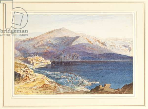 Villefranche-sur-Mer, 19th century (graphite, pen and brown ink, brown wash, watercolour and white bodycolour on wove paper, inlaid into a wash border mount)